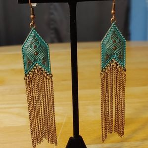 Chain Earrings. Antiqued Bronze Plating On Titanum